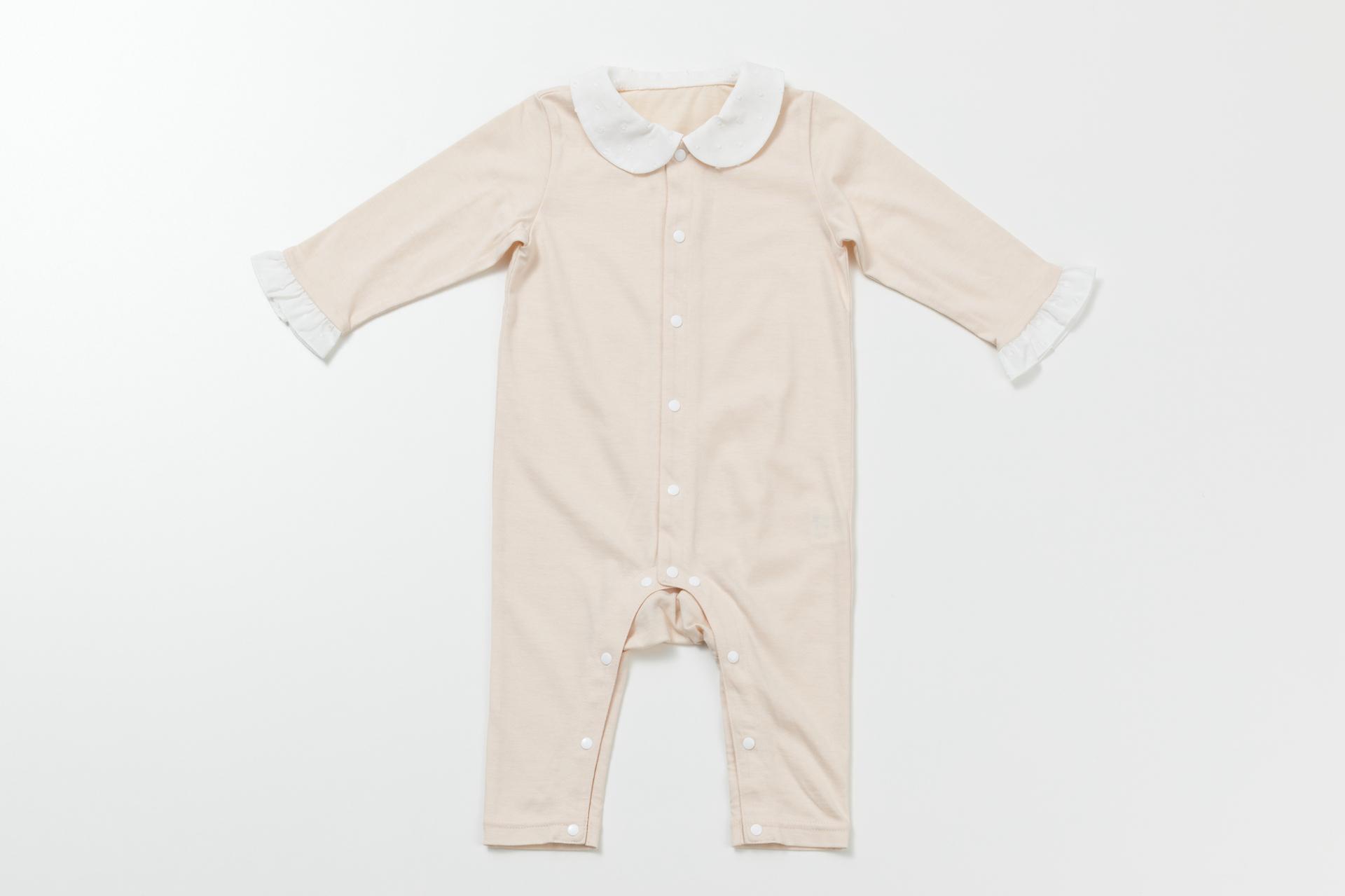 襟つきロンパース ピンク (長袖・足つき)
