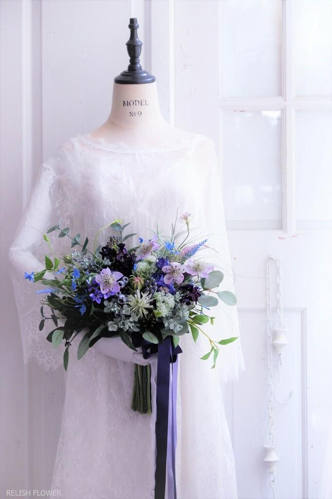 【 オーダーメイド・Cタイプ 】クラッチブーケ ・オーバル 。アーティフィシャルフラワー造花のウェディングブーケ