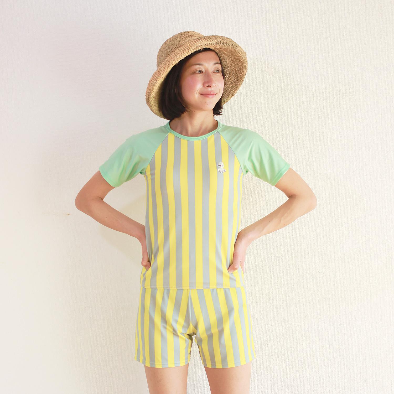 レディース レモン×グレーストライプTシャツ型水着 袖ミント 3点セット WL-08