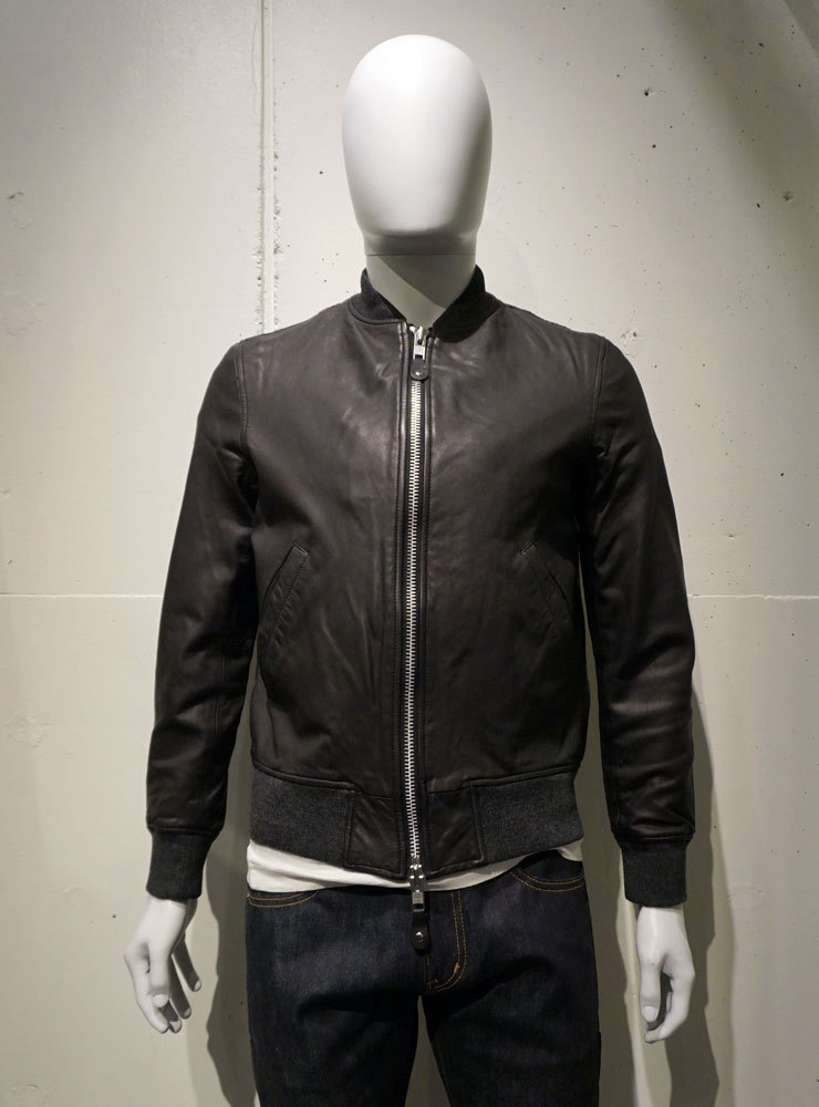 AWESOME LEATHER rib leather Blouson ブラック