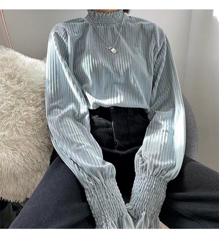 volume sleeve stripe blouse
