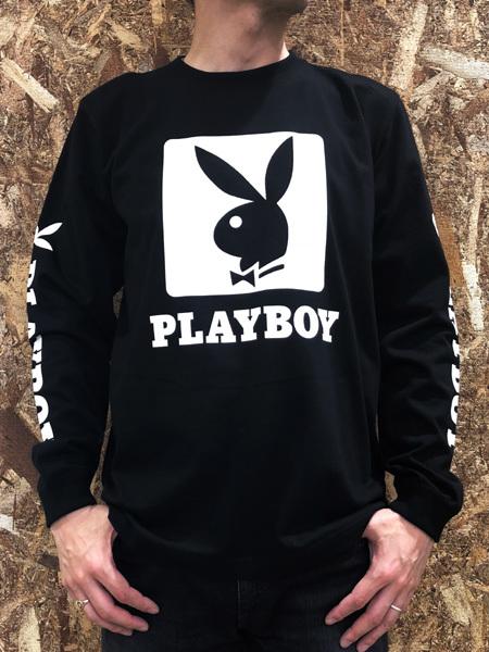 PLAYBOY (プレイボーイ) ロゴプリント ロンT Black (ブラック)