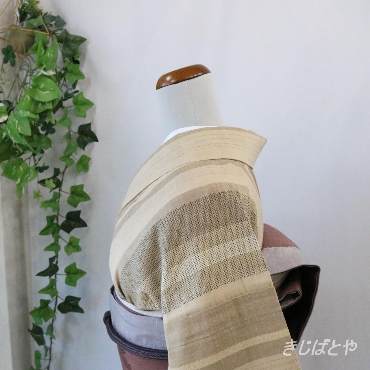 【I様ご予約品】正絹紬 白橡の縞小紋 単衣