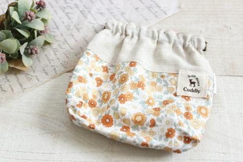 バネポーチ*チェック 花柄 オレンジ/caramel+caramel 型番:438