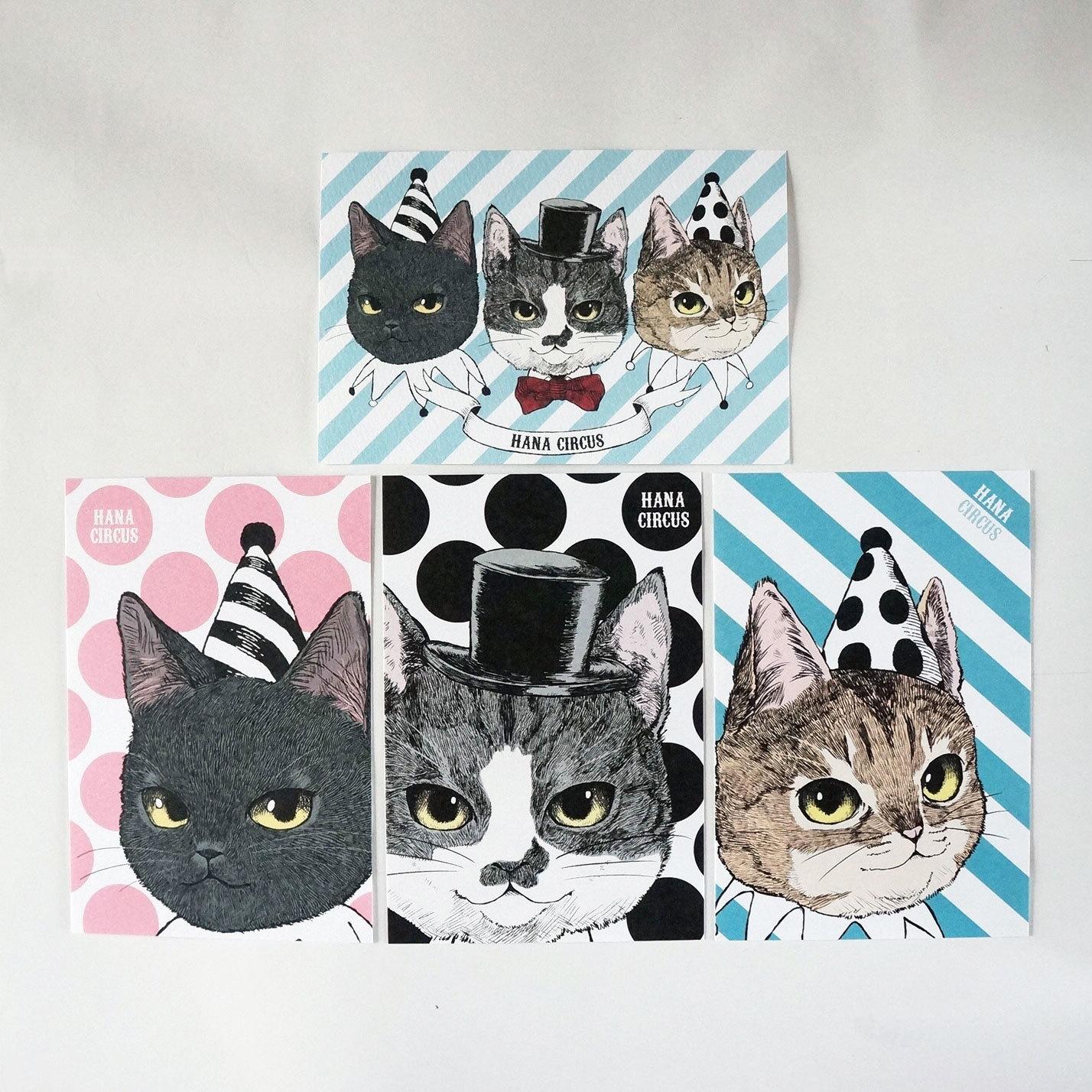 7d5f81280470 HANA circus original ポストカード 4枚セット 猫 はちわれ キジトラ 黒 ...