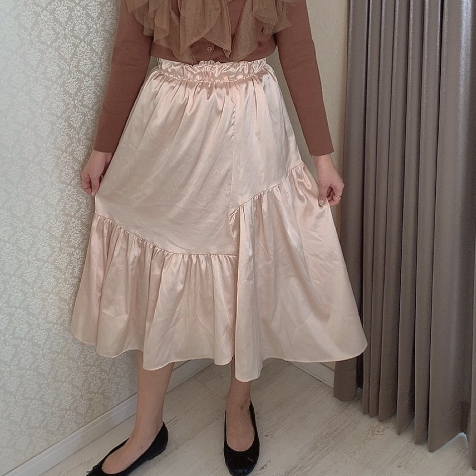asymmetry satin skirt