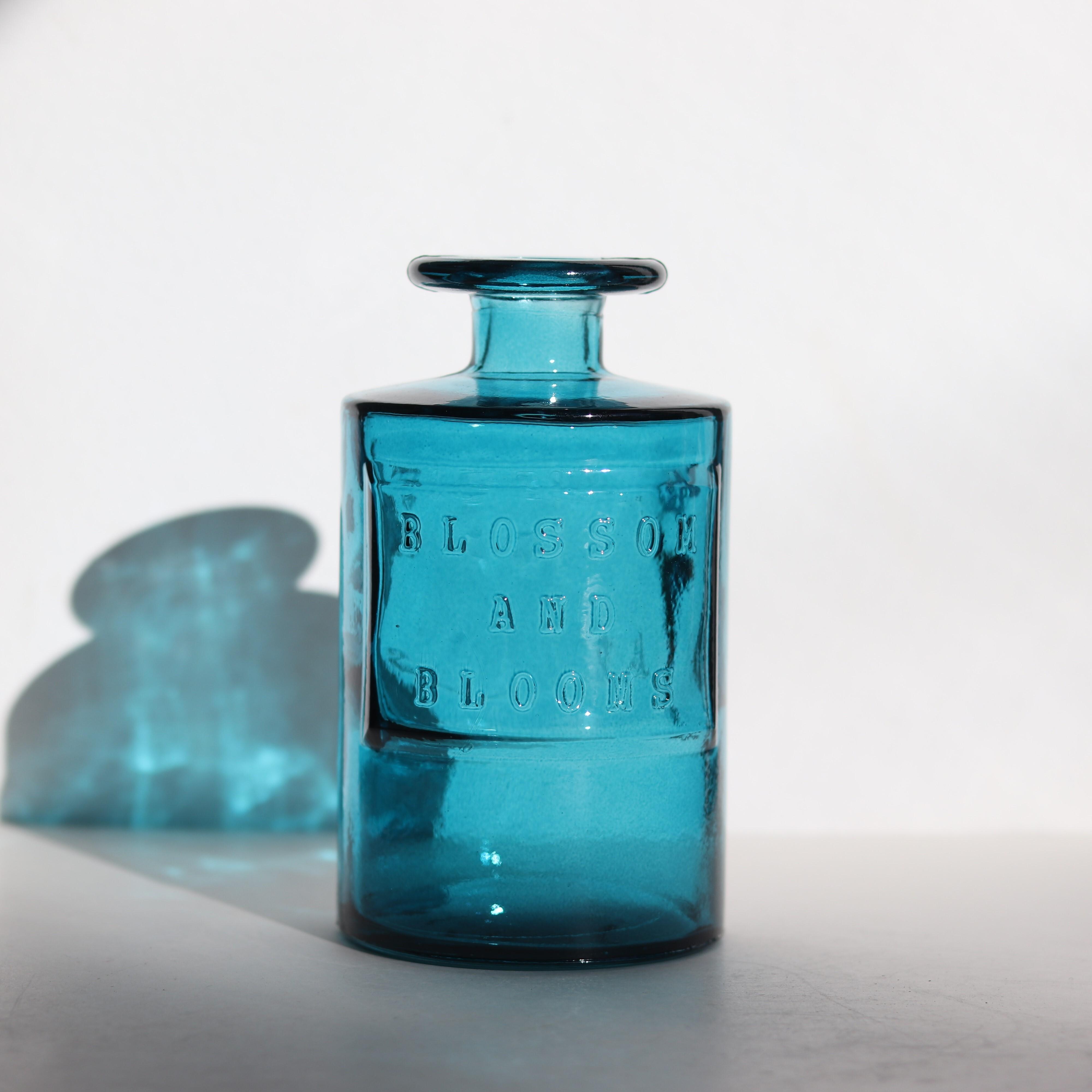 【ガラス・雑貨】フラワーベース ブルー【0455】