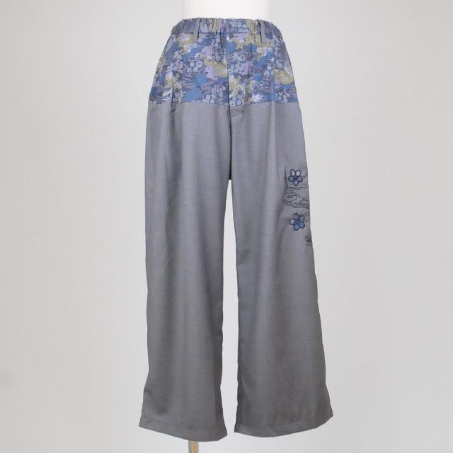 gouk侍 和柄桜と月の刺繍いりワイドパンツ GGD25-P806 GY-BK/MM