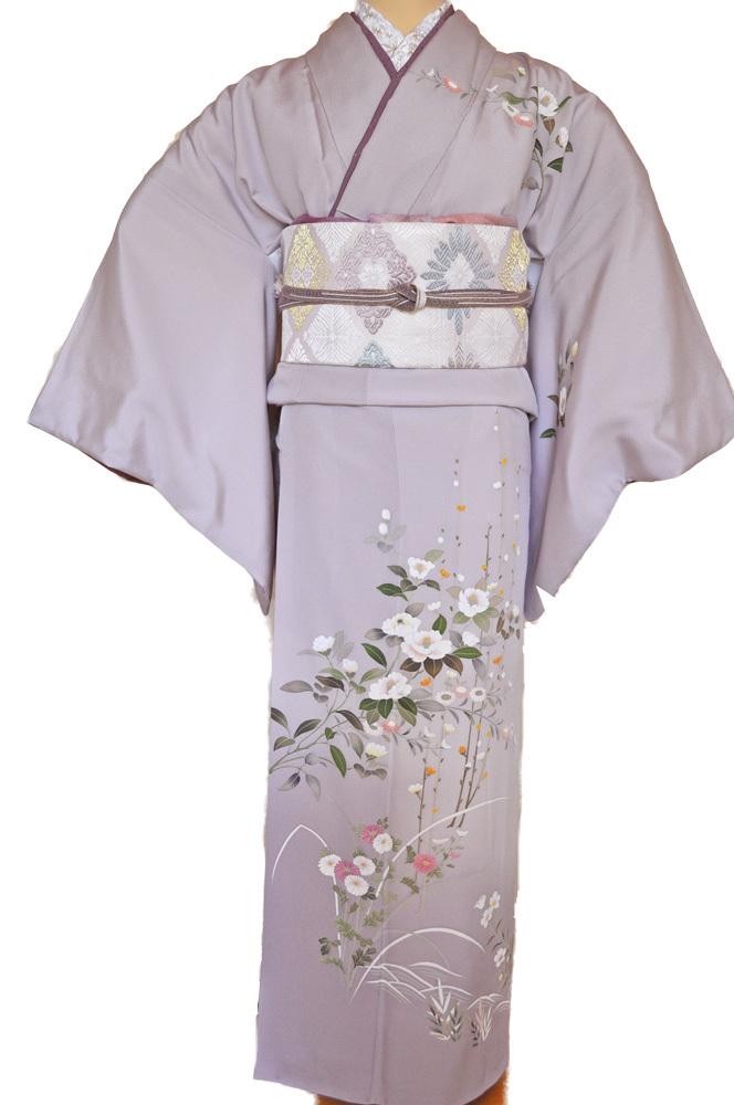 レンタル着物161「訪問着レンタル」極薄紫色地に菊と牡丹がのびやかな柄【往復送料無料】 - 画像2