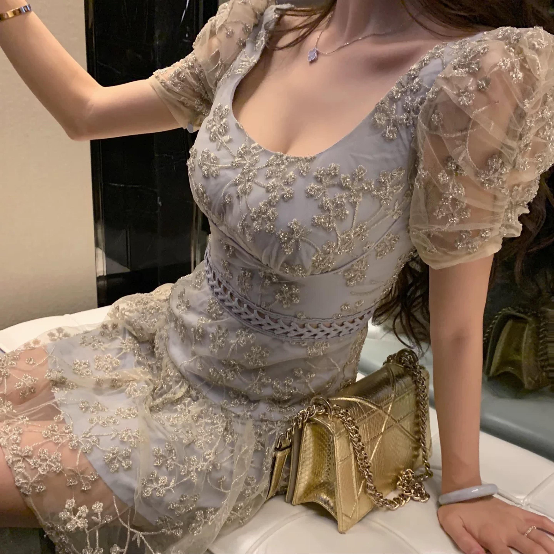 glitter flower pastel dress
