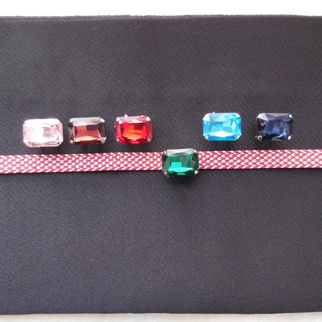 (164) 小さな小さな帯留め ガラスビジュー スクエアー 和装小物 【レターパックライト可】