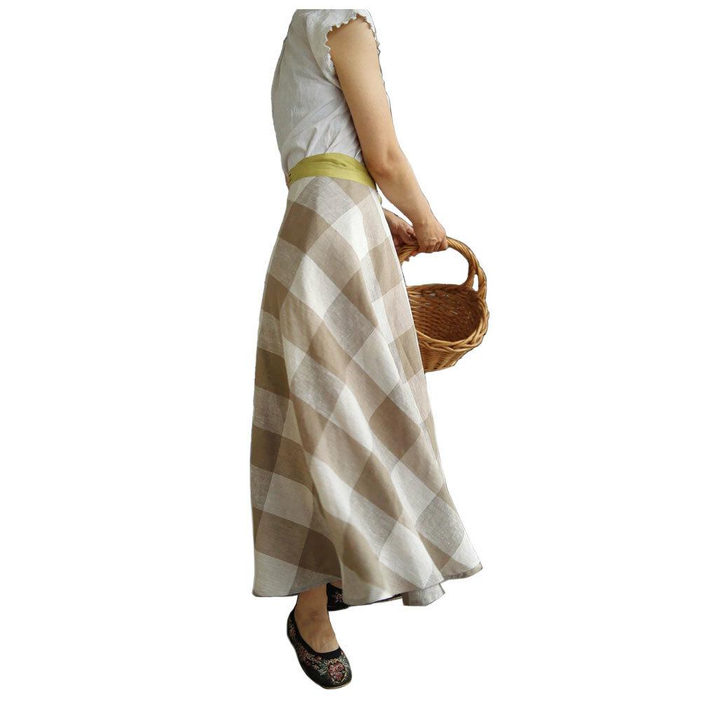 リネンサーキュラーラップスカート《 カーキーベージュ》