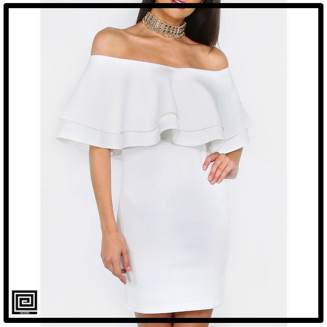 ホワイトフリルオフザショルダーボディコンドレス