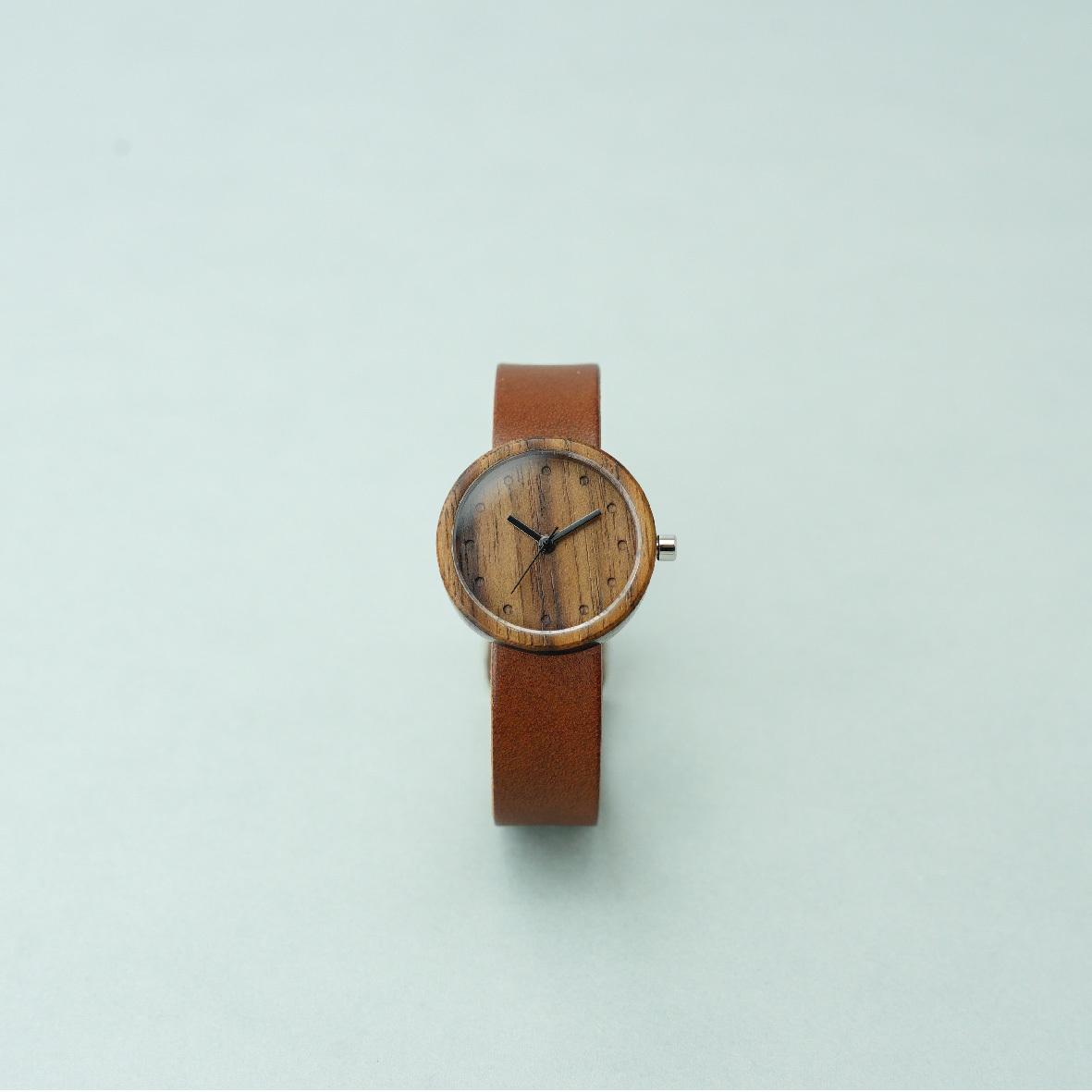 Walnut wood - Organic leather Dark Brown - S