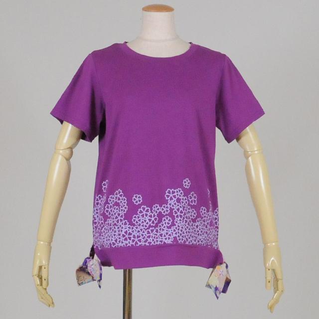 gouk 脇和柄リボン付き丸首Tシャツ GGD25-T009 PUR/M