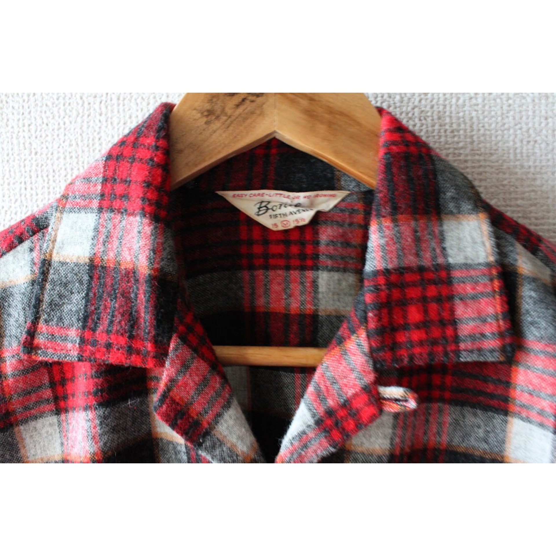 Vintage check wool open collar shirt