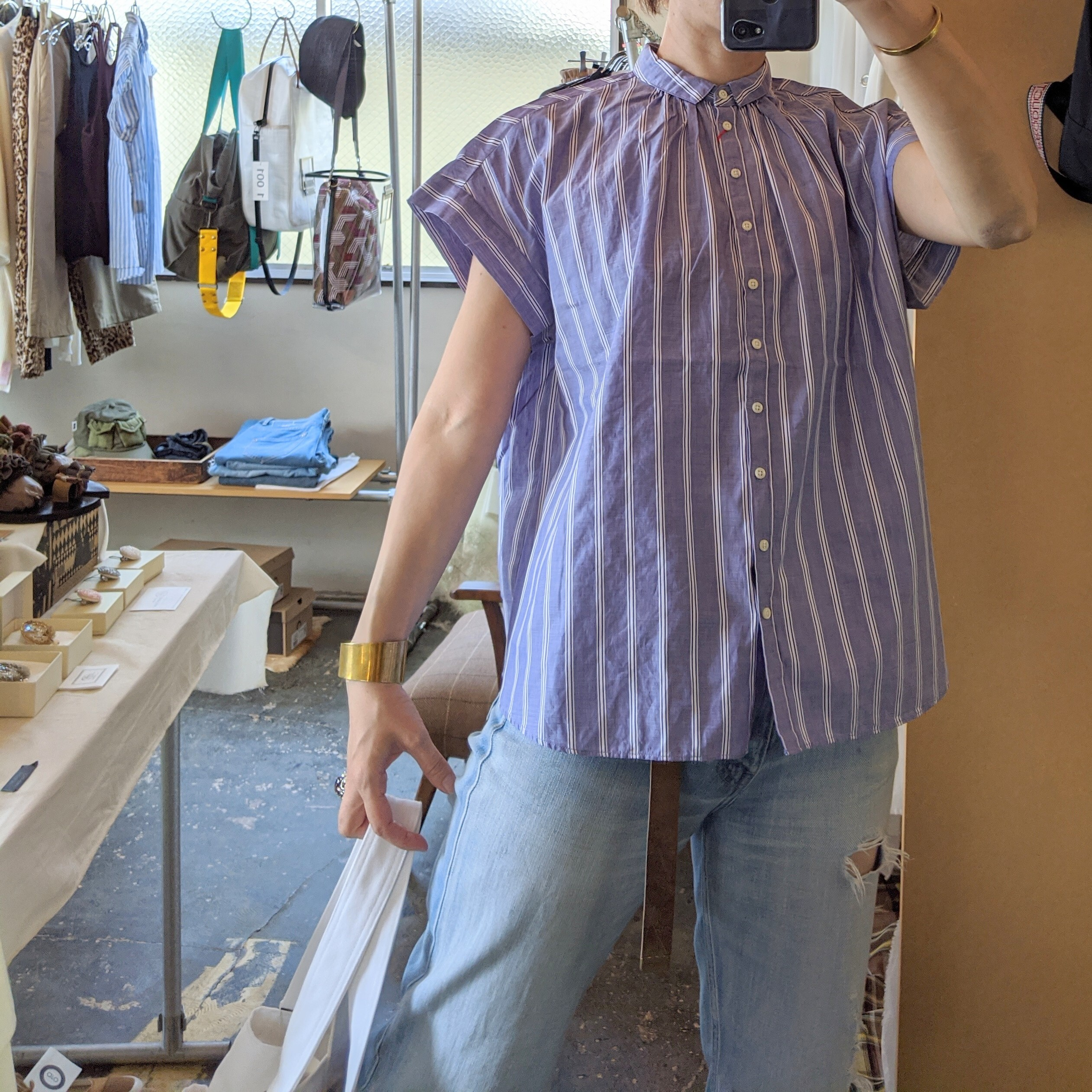 【  FANEUIL 】ファヌル ストライプギャザー半袖ブラウス/ stripe blouse blue×off white