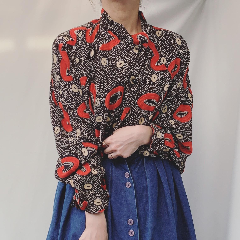 vintage stand collar design shirt