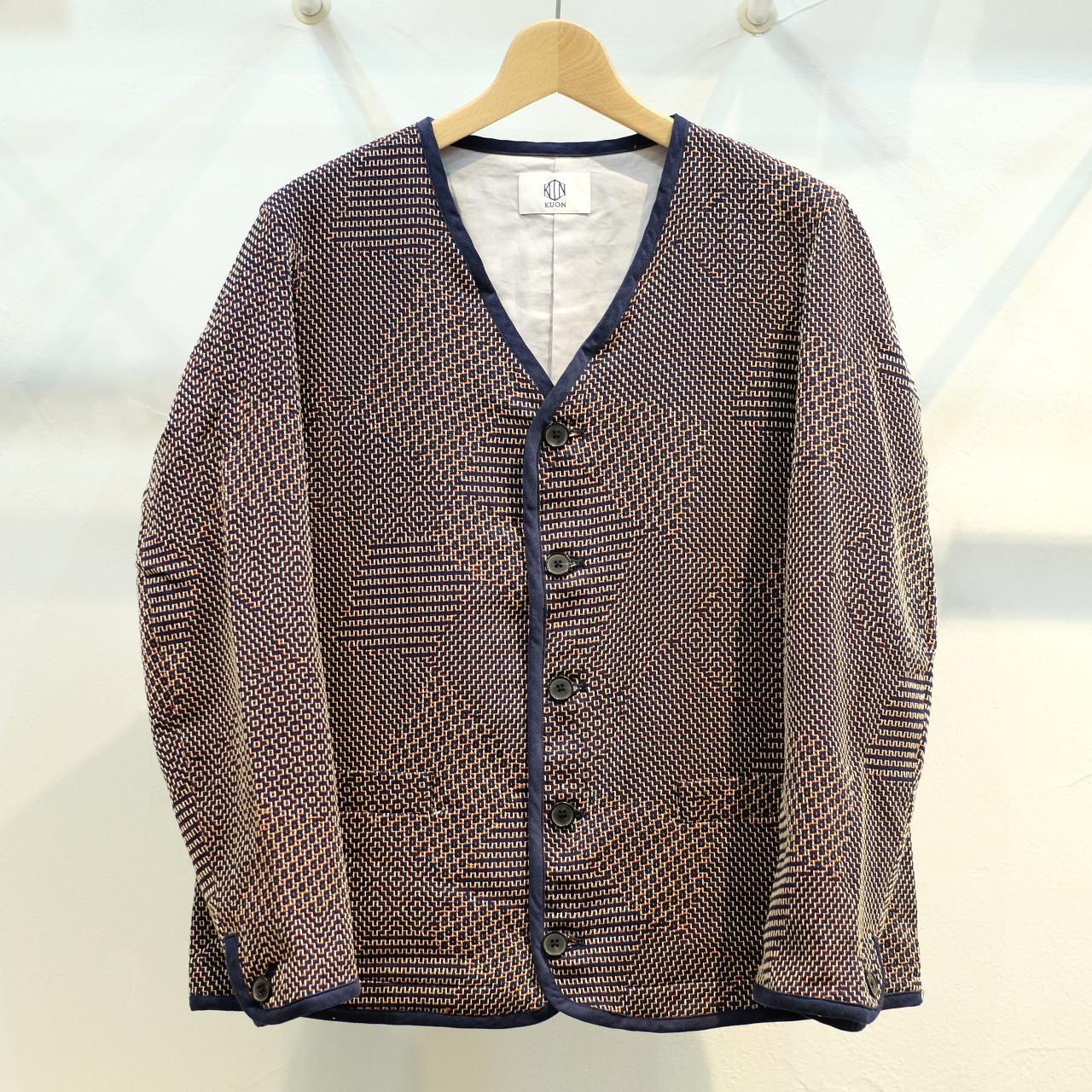 KUON(クオン) 新紋刺し子織 カーディガン ネイビー