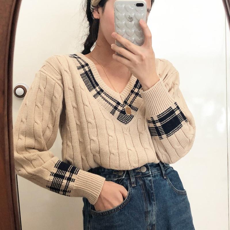 【送料無料】チェック柄セーター♡ ニット Vネック トップス