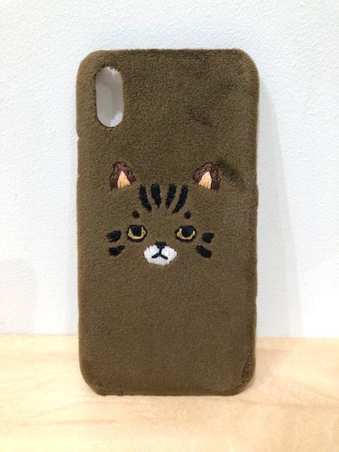 【iPhoneX/Xs専用】トラネコiPhoneケース【新生地ブラウン】
