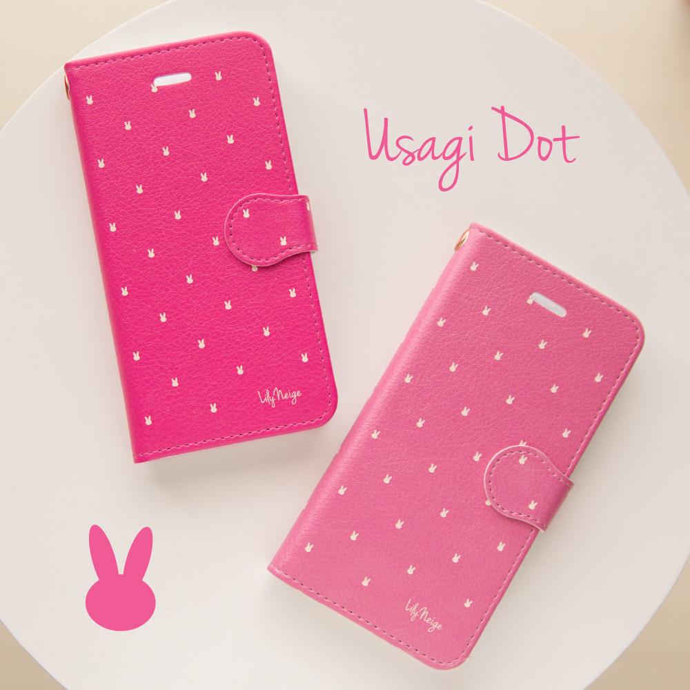 ピンクのウサギのスマホケース