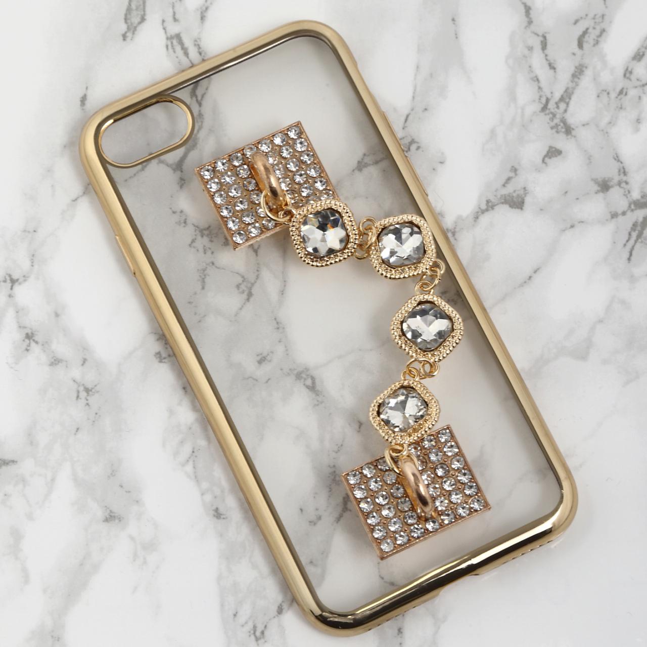 【送料無料】縁ゴールドのソフトケース&キラキラ落下防止ベルト iPhoneケース