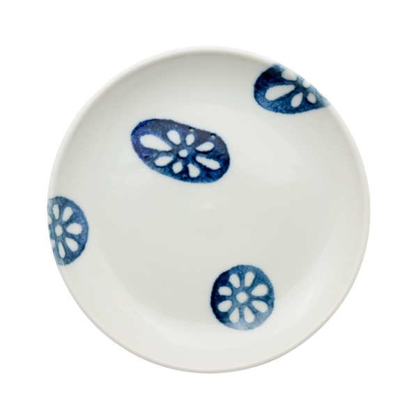 九谷青窯 印判蓮根 5寸皿