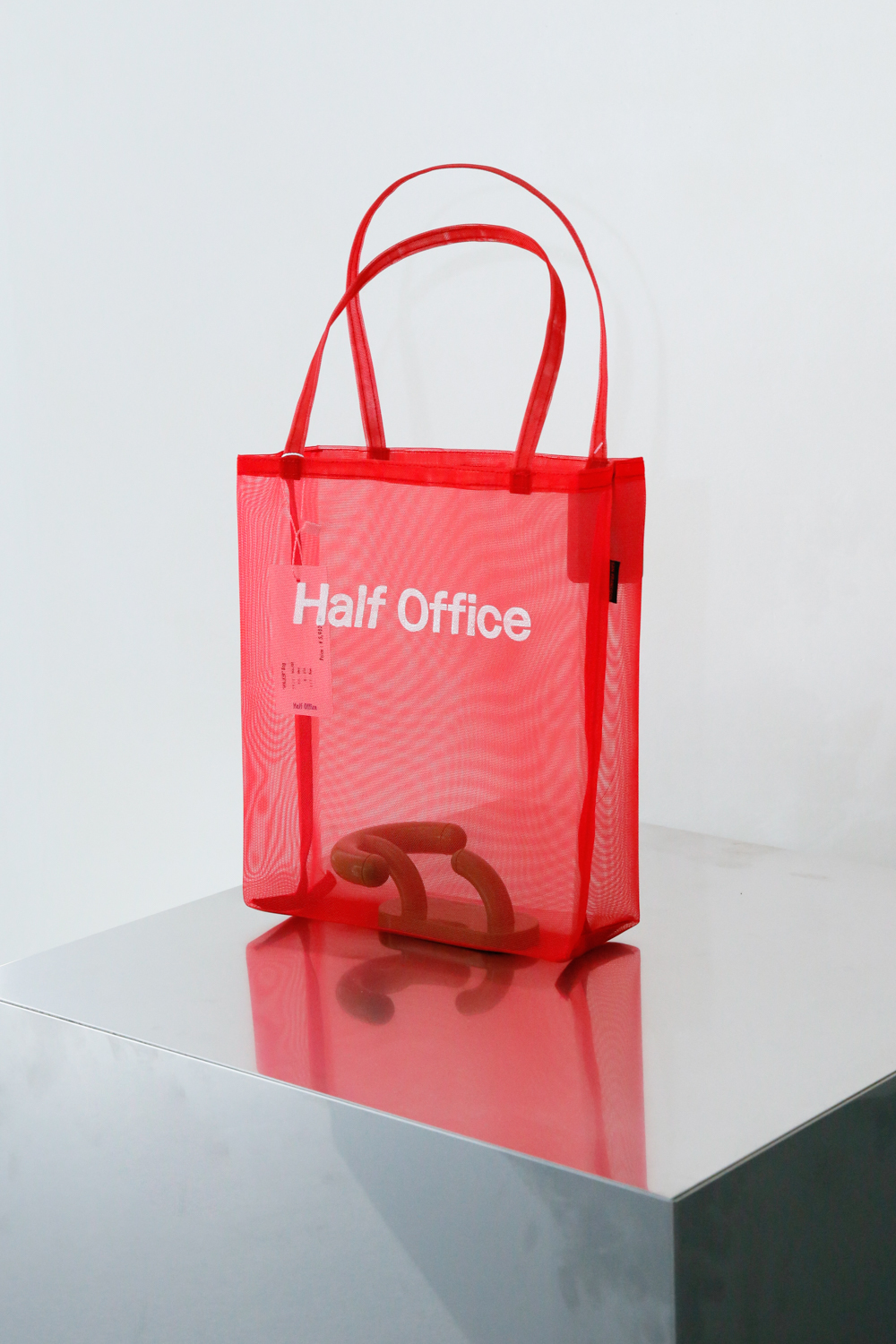 Half Office Mesh Tote Bag / Red