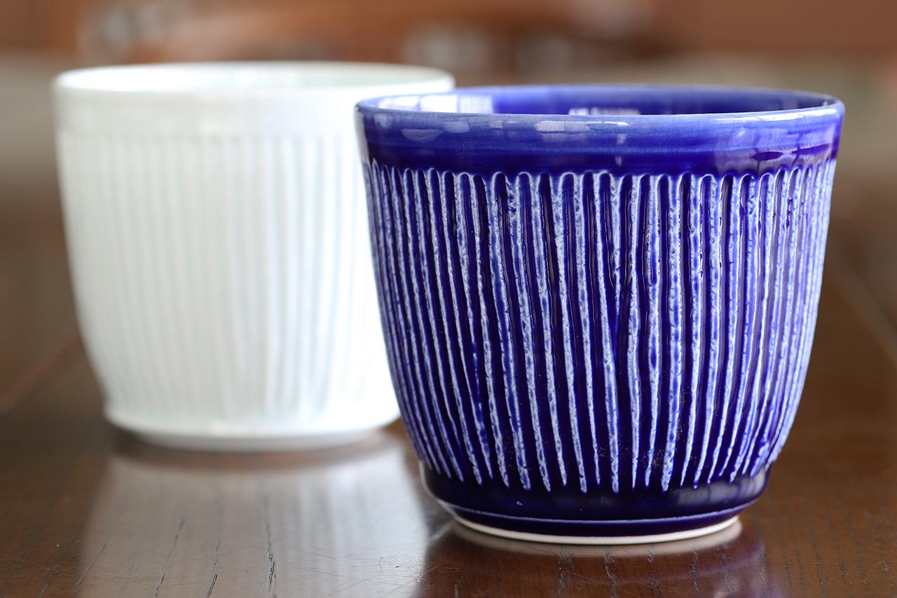 瑠璃釉しのぎ ロックカップ 作:陶工房楽(波佐見焼)