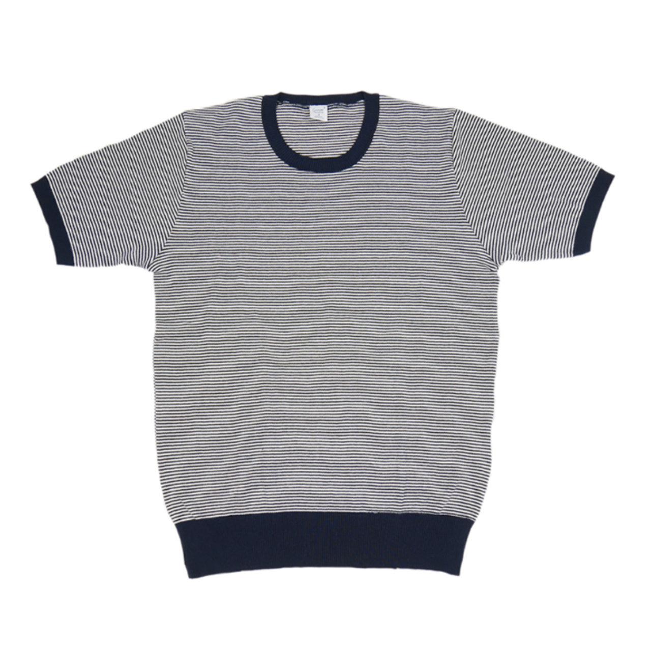【gicipi】 イタリア製 コットン ニット クルーネック Tシャツ (Giro Collo MM 2006 P) 〈Navy〉