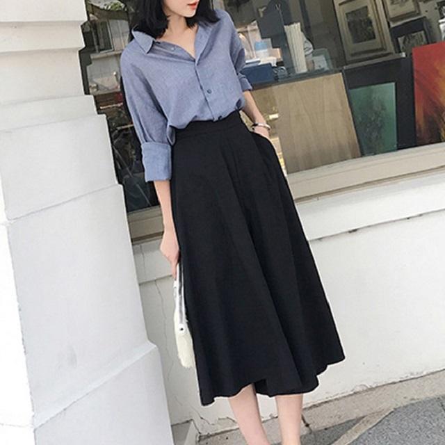 秋 新作  セットアップ スカート きれいめ フェミニン  シャツ シンプル 上品 ブルー オフィス デート 女子会
