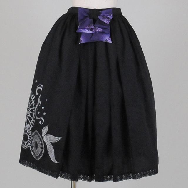 gouk雅 市松リボンの袴スカート GGD25-S910 BK/M