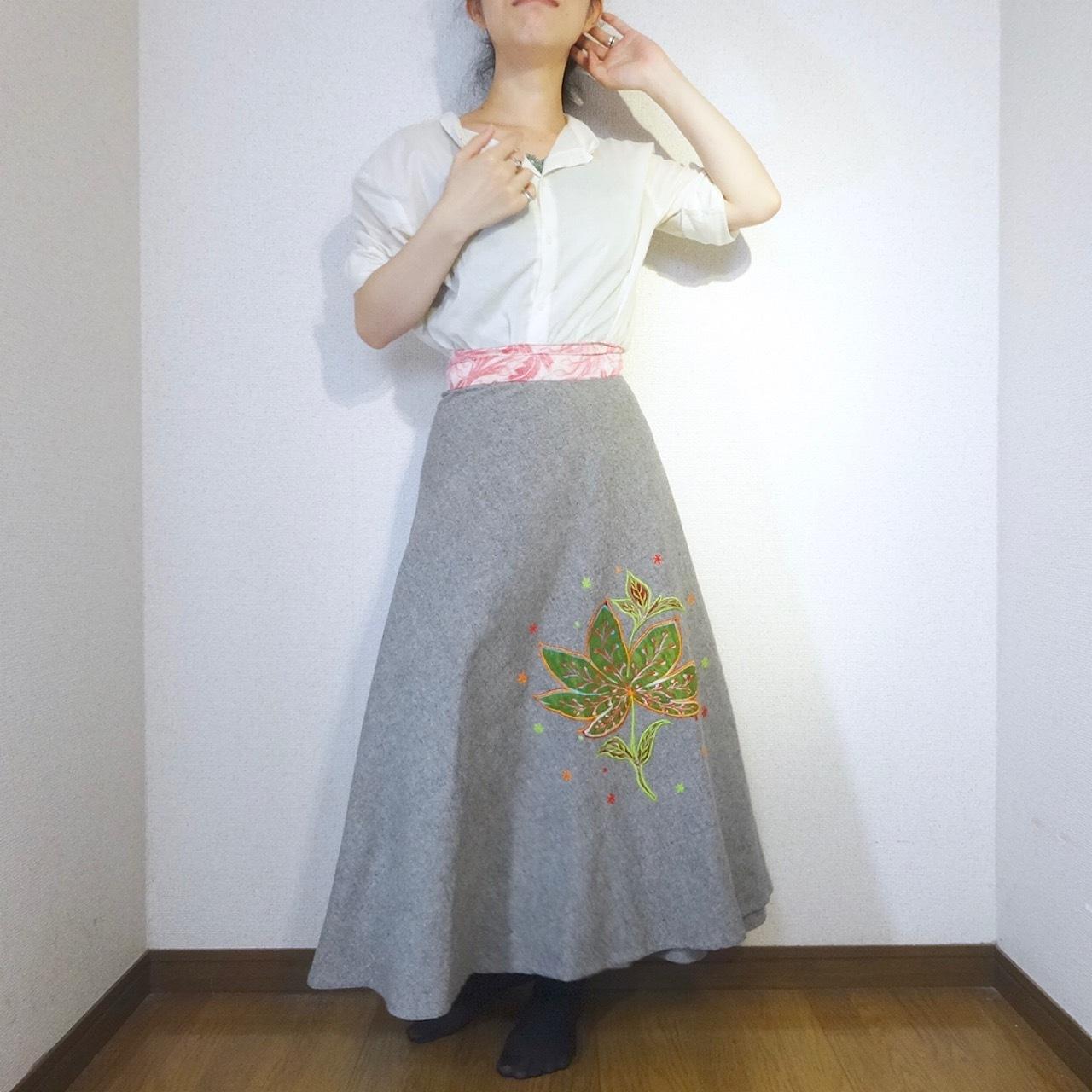ebwg-002 刺繍コットン・サリー 巻きスカート
