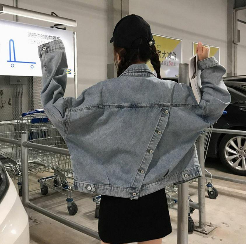 【送料無料】 バックスタイルがポイント♡ ルーズ デニム カジュアル ジャケット ジージャン ショート丈