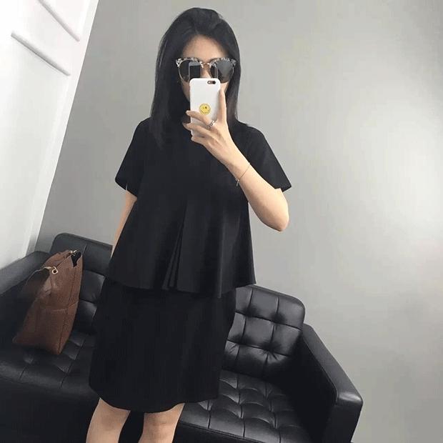 センタープリーツのAラインキャミソールをON♪フェイクTシャツ ブラック M
