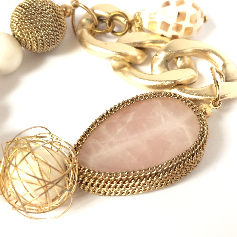 【 UNSEABLE 】Stone cherm braceret / Gold