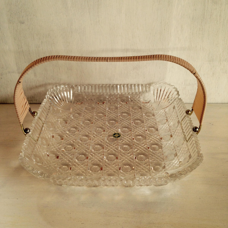 取っ手付きガラス皿(大) 昭和レトロ(HOYA製)