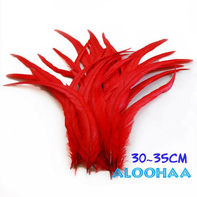 単色ロングフェザー 【レッド】30~35cm タヒチアン 衣装 材料 ルースターテール 染め 羽根