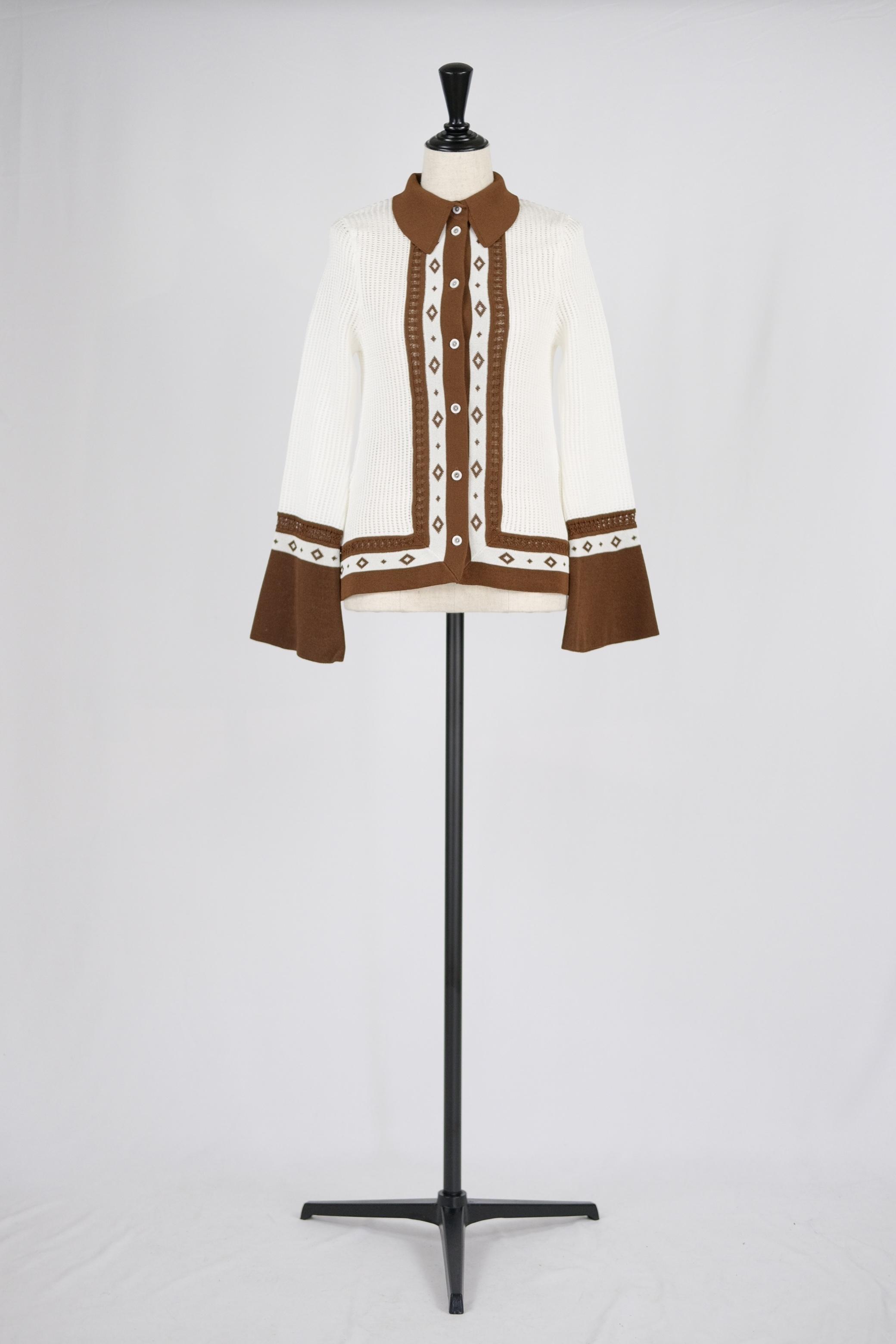 【Mame Kurogouchi】Knitted Shirt with Diamond Pattern - white