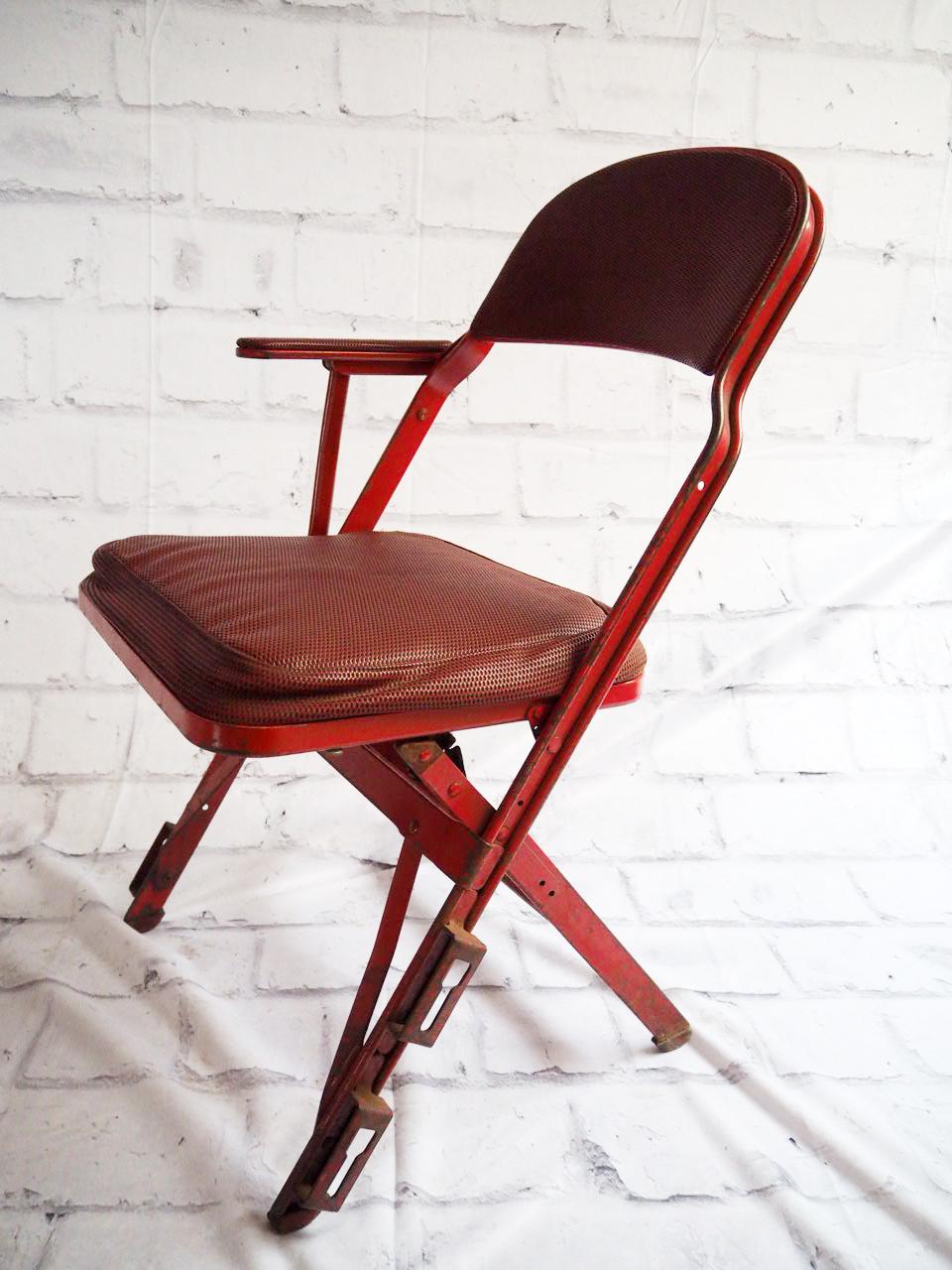 品番4897 クラリン社製 フォールディング チェア 折りたたみ椅子 スチール製 ヴィンテージ