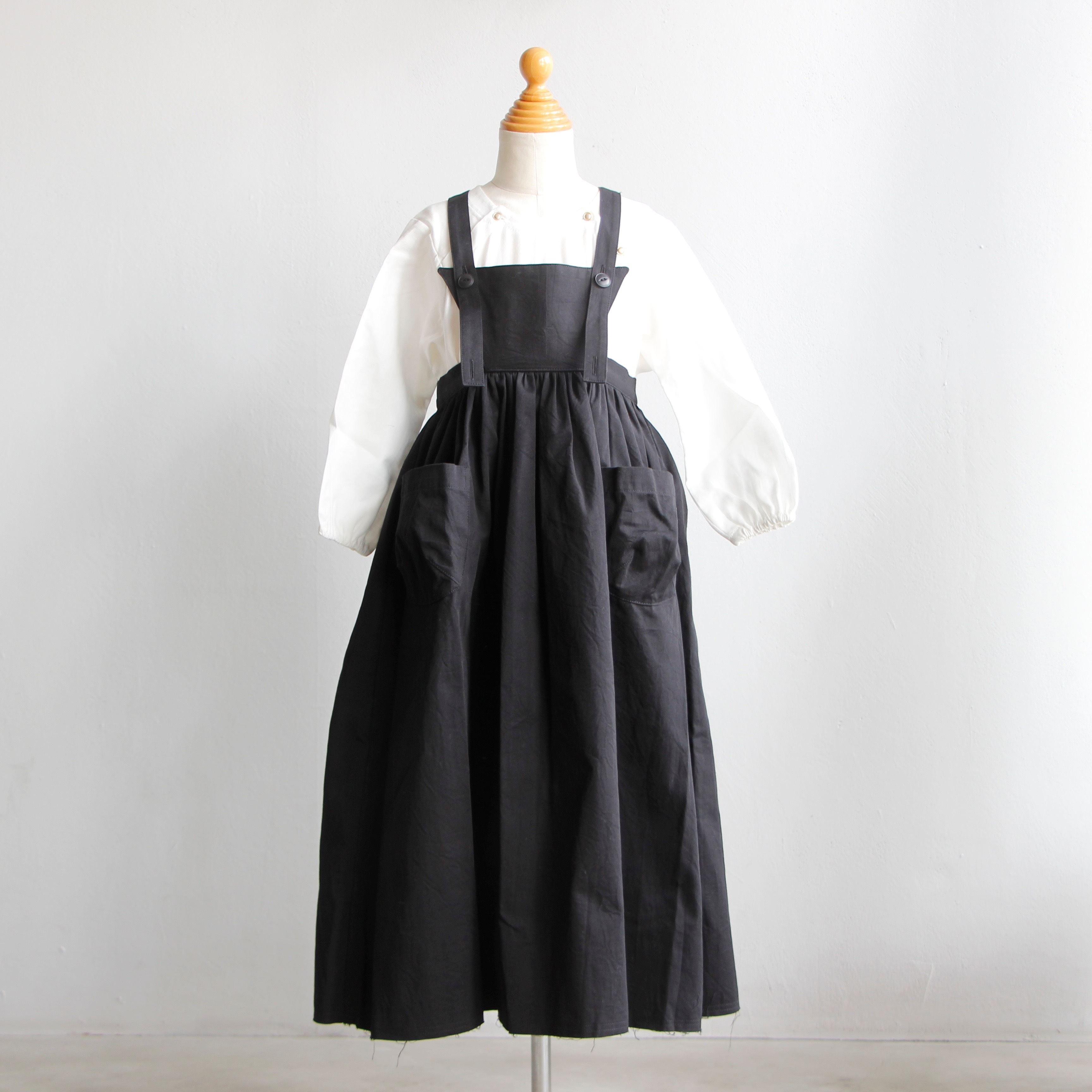 《UNIONINI 2019AW》apron long dress / black / 2-10Y