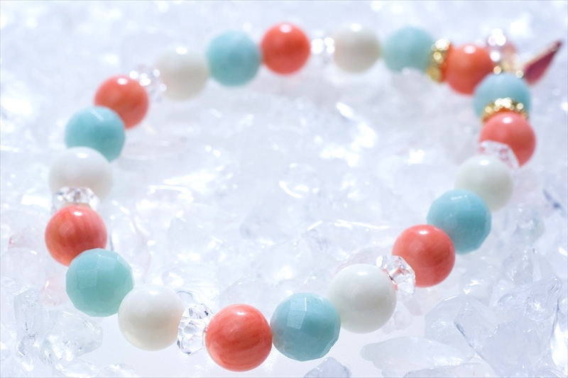 アマゾナイト&Coral sea stone【パワーストーンブレスレット 】 - 画像2