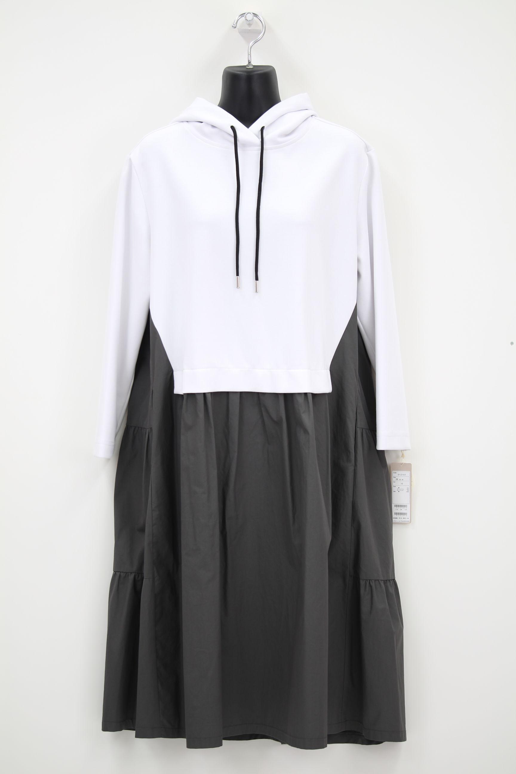 ティアード×パーカーワンピ【白×グレー】