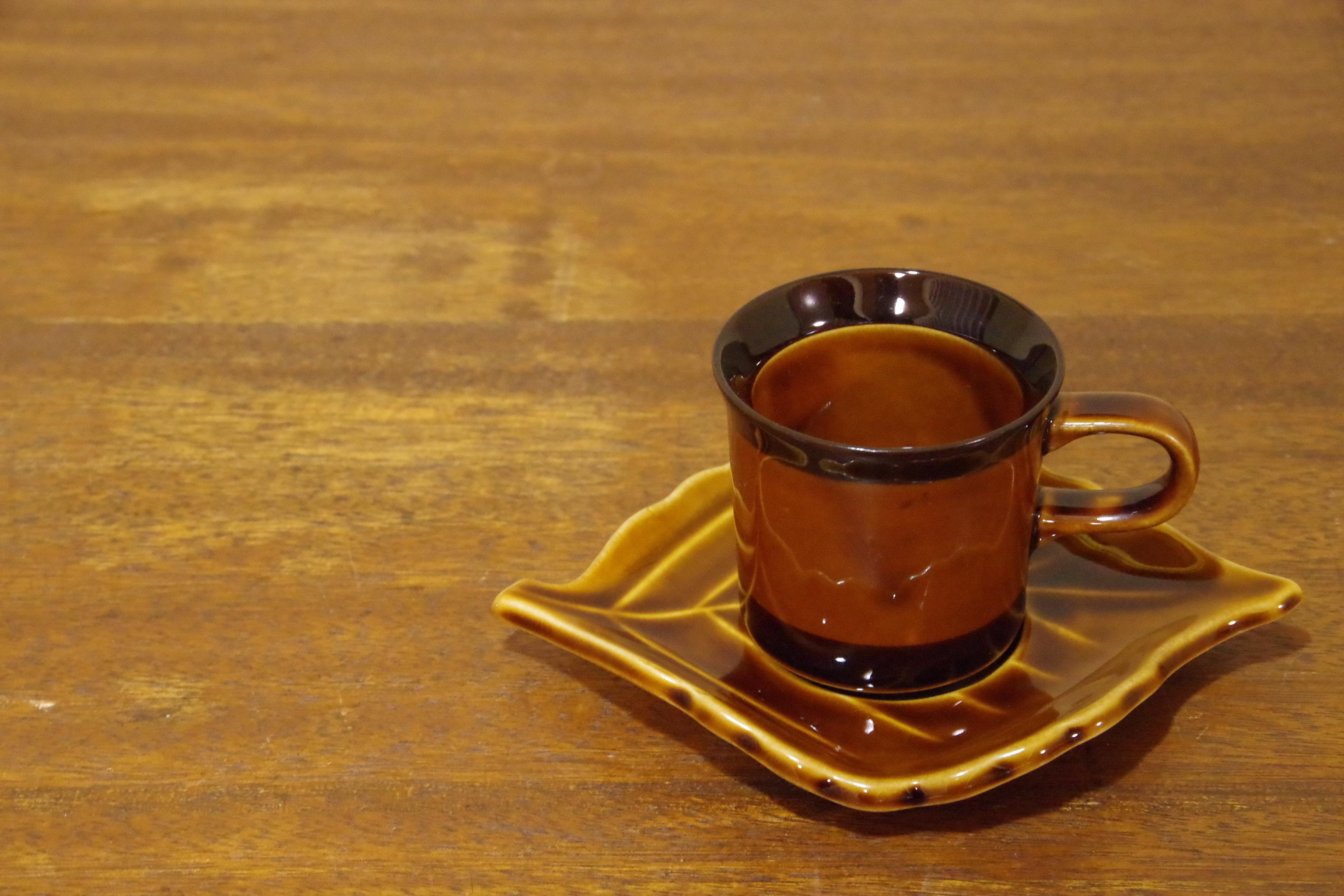 レトロ 木の葉 ブラウン カップ&ソーサー コーヒーカップ 昭和レトロ 古道具