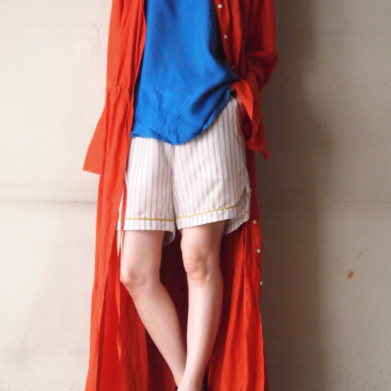 【hippiness】cupro piping stripe short pants/【ヒッピネス】キュプラ パイピング ストライプ ショート パンツ