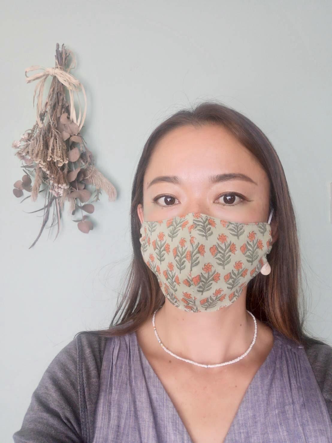 [onda canta]Block print × Linen Mask コットンリネンマスク