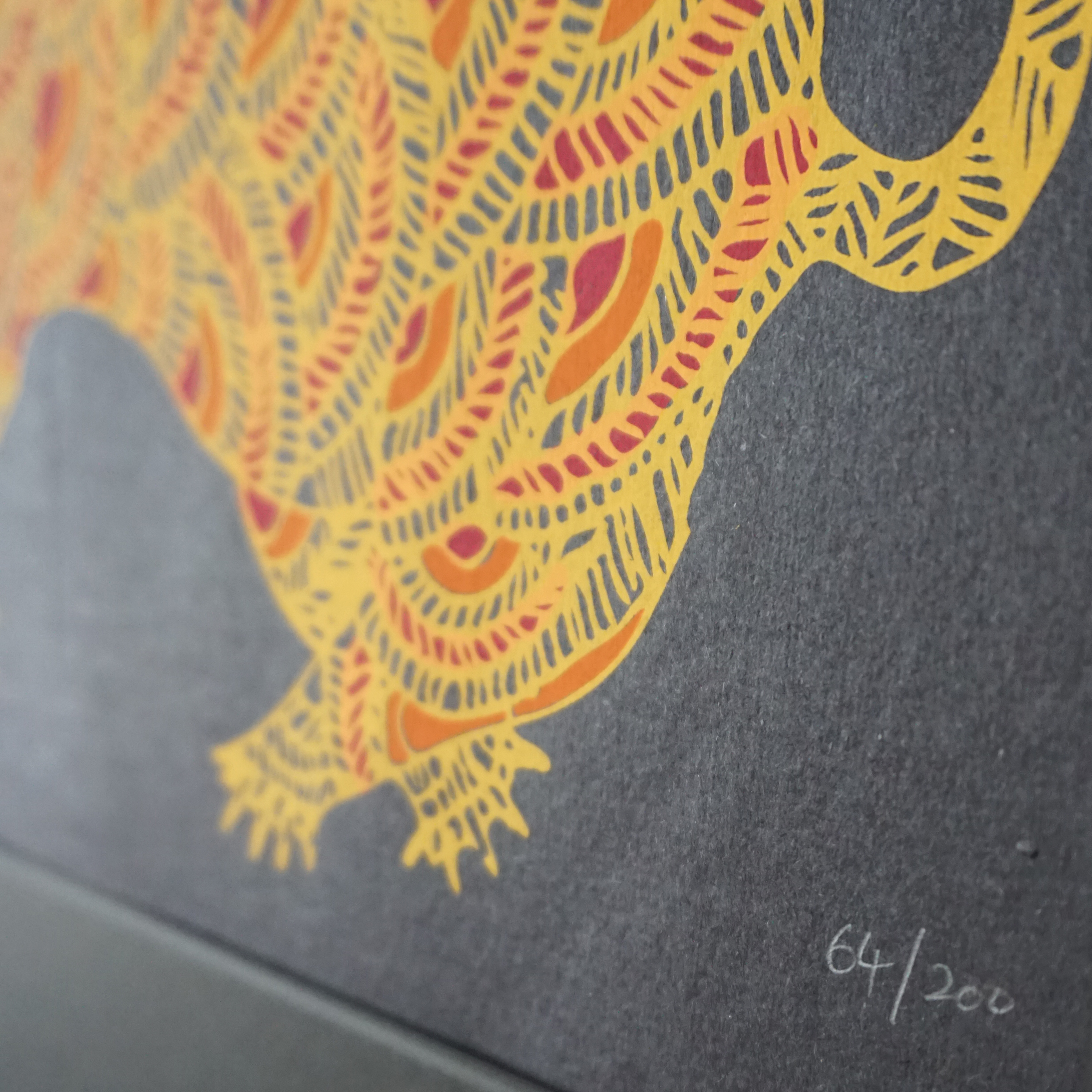 ゴンド画家ジャンガル・シン・シャム作品 シルクスクリーン 「Tiger ...
