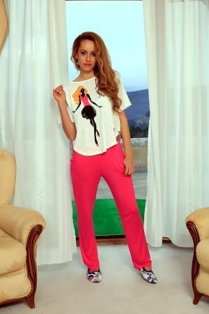 Donita's<ドニータ> Tシャツ&ビスコースボトム セット [ホワイト&ピンク]