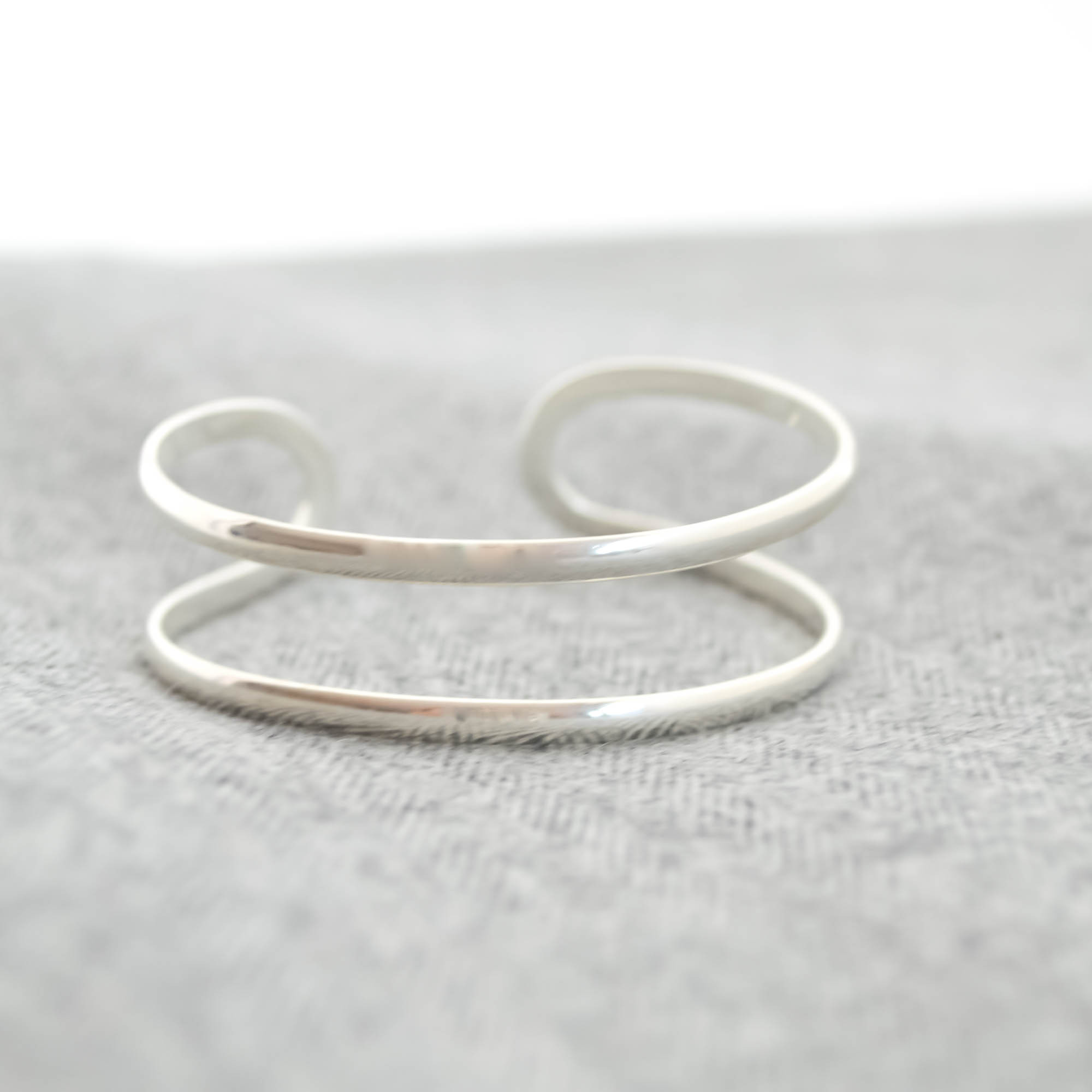 Silver double Line Bangle
